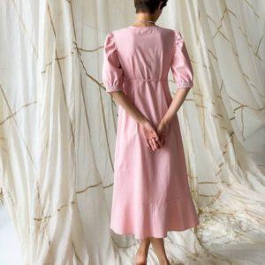 Замовити вигідно рожеву лляну сукню з рукавами-ліхтариками (розмір 42-48) для жінок