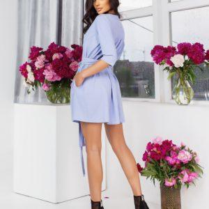 Приобрести онлайн голубое стрейчевое платье из жатого льна (размер 42-56) для женщин