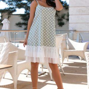 Заказать оливка женское летнее платье с принтом и сеткой (размер 42-52) в Украине
