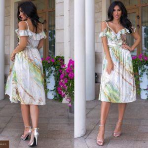 Заказать выгодно женское шелковое платье с мраморным принтом (размер 44-52) оливкового цвета