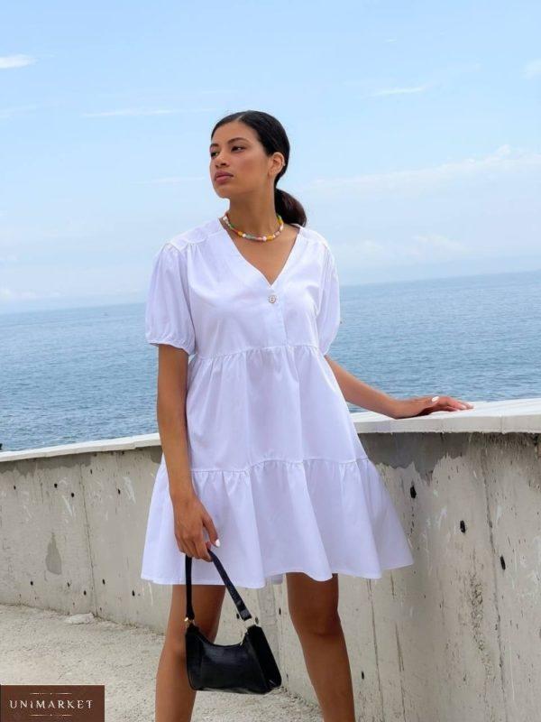 Купить на лето женское платье оверсайз из коттона (размер 42-48) белого цвета