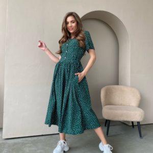 Заказать зеленое женское платье миди в удлиненный горошек (размер 42-48) по скидке