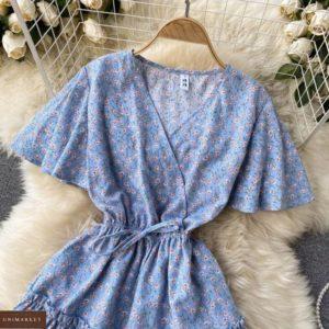 Купити недорого блакитне плаття з квітковим принтом з штапеля для жінок
