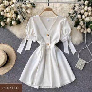 Приобрести белое женское платье из штапеля с рукавами-фонариками онлайн