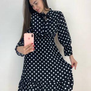 Купить в интернете черное платье в горошек с завязкой для женщин