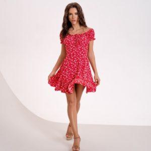 Приобрести красное онлайн платье мини с открытыми плечами для женщин