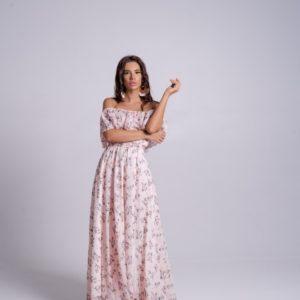 Купить пудра женское шифоновое платье в пол в цветочный принт в интернете