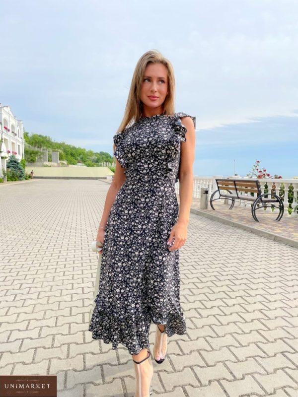 Приобрести черное женское платье миди с рюшами (размер 42-48) в Украине