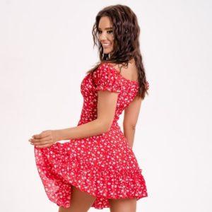 Купить по скидке женское платье мини с открытыми плечами красное