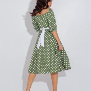 Заказать оливковое женское платье в горошек с атласным поясом (размер 48-54) в Украине