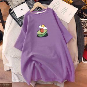 Купить онлайн фиолет платье-футболку с принтом для женщин