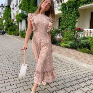 Купить беж женское платье миди с рюшами (размер 42-48) онлайн