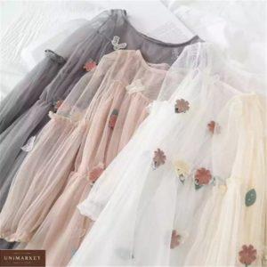 Купить выгодно белое, беж, пудра, серое платье из фатина с декором для женщин