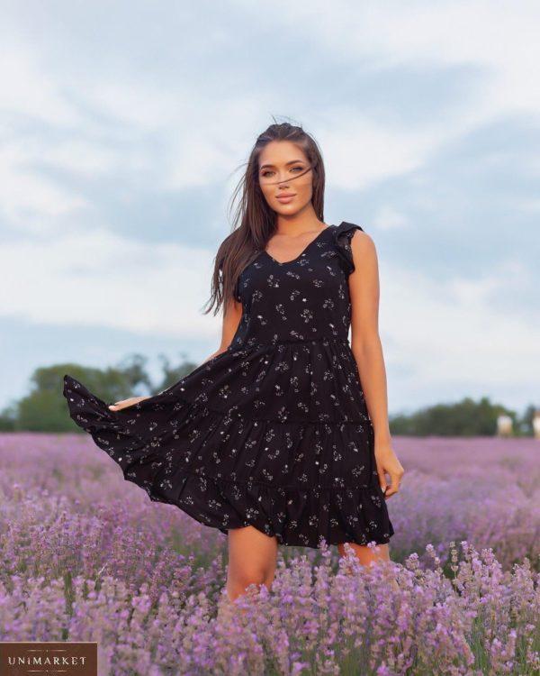 Заказать онлайн черное летнее платье с рюшами (размер 42-52) для женщин