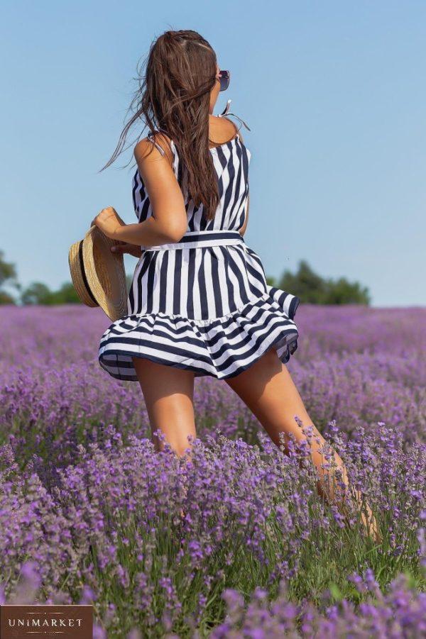 Приобрести недорого синего цвета платье мини из натурального льна (размер 42-48) для женщин