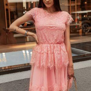 Приобрести дешево женское нежное кружевное платье персик