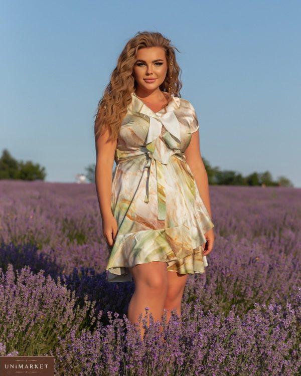 Приобрести по скидке оливка шелковое платье на запах с разводами (размер 46-56) для женщин