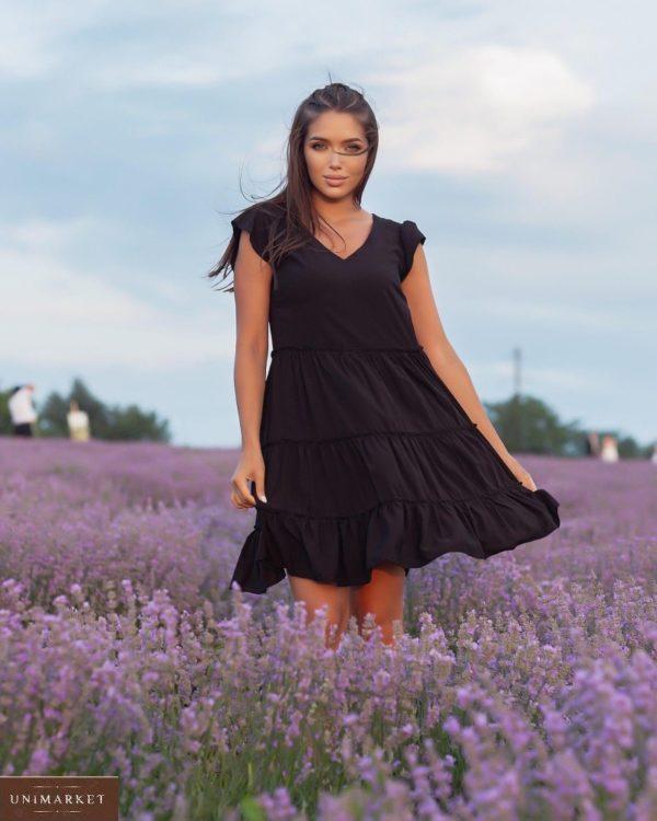Купить по низким ценам женское летнее платье с рюшами (размер 42-52) черного цвета