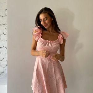 Приобрести пудра женское льняное платье с вышивкой мини в Украине
