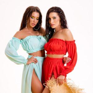Приобрести пляжную тунику: юбка макси+топ для женщин онлайн красную, мята