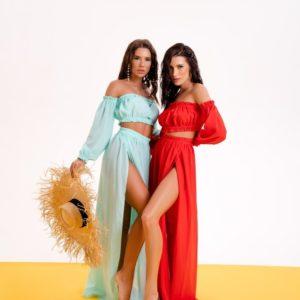 Купить мята, красного цвета пляжную тунику: юбка макси+топ для женщин в Украине