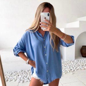 Купить онлайн голубую рубашку свободного кроя (размер 42-52) для женщин