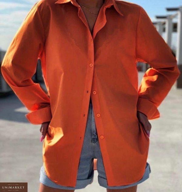 Заказать оранжевую женскую летнюю рубашку из штапеля (размер 42-48) недорого