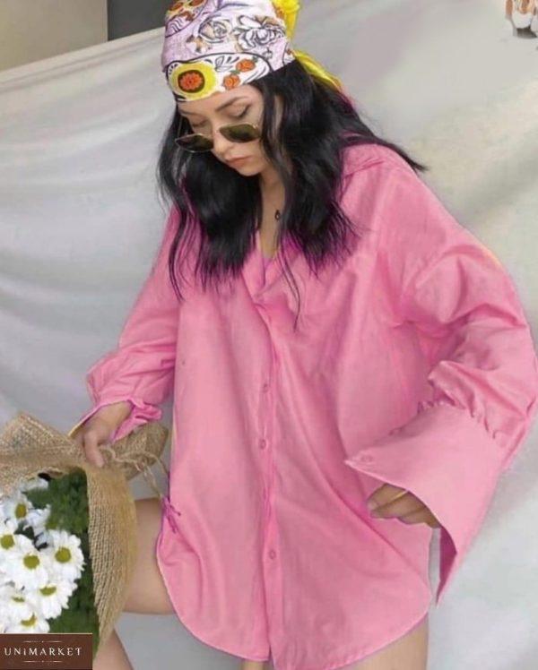 Приобрести розовую женскую летнюю рубашку из штапеля (размер 42-48) по скидке
