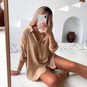 Приобрести выгодно цвета кэмел беж рубашку свободного кроя (размер 42-52) для женщин