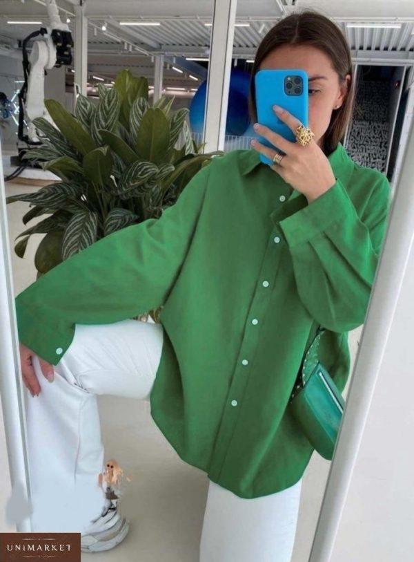 Заказать зеленую женскую летнюю рубашку из штапеля (размер 42-48) онлайн