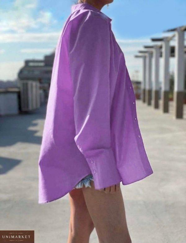 Купить выгодно лиловую летнюю рубашку из штапеля (размер 42-48) для женщин