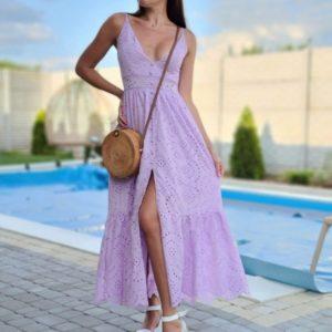 Заказать лиловый женский длинный сарафан из прошвы по скидке
