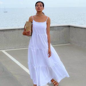 Купить белый женский длинный сарафан оверсайз дешево