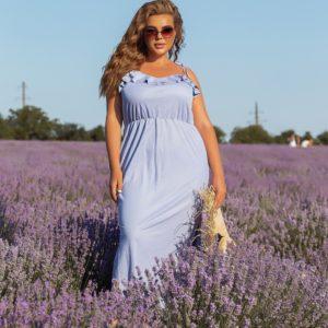 Заказать голубого цвета женский летний сарафан на бретельках (размер 46-56) онлайн