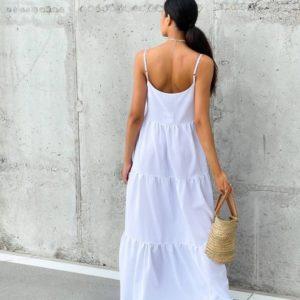 Заказать белый женский Длинный сарафан оверсайз в интернете