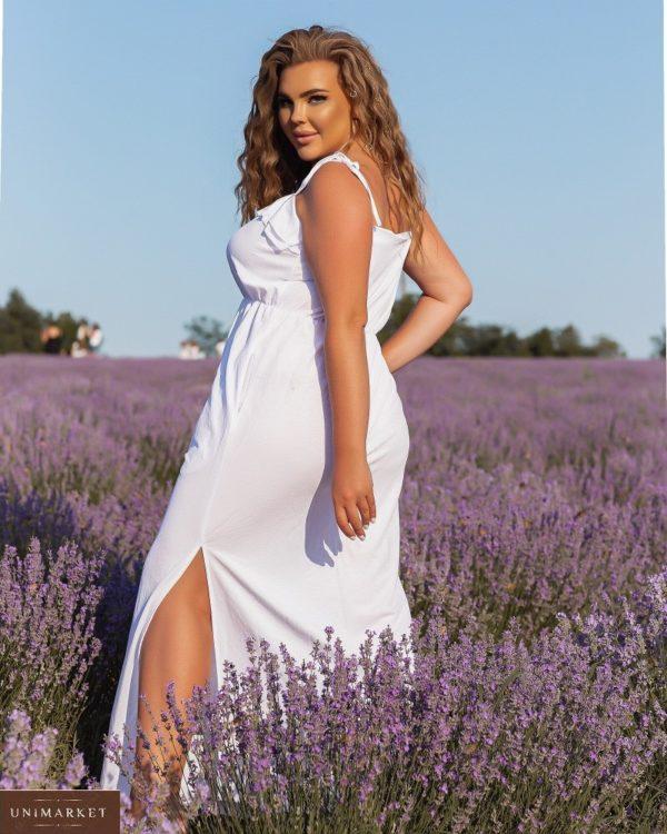 Купить онлайн белый летний сарафан на бретельках (размер 46-56) для женщин