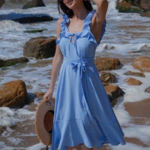 Заказать по скидке голубой сарафан из жатого хлопка с рюшами (размер 42-48) для женщин