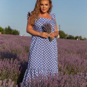 Купить длинный сарафан голубой в горошек (размер 48-56) для женщин по скидке