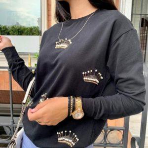 Купить черный женский свитшот с коронами онлайн
