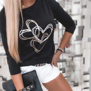 Заказать черный женский тонкий свитшот с сердечками онлайн