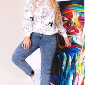 Заказать белый женский свитшот Багз Банни онлайн
