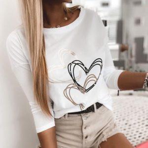Приобрести выгодно белый тонкий свитшот с сердечками для женщин