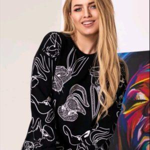 Купить черный женский свитшот Багз Банни в Украине