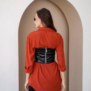 Купить онлайн черный топ из эко кожи на змейка для женщин