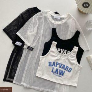 Купить выгодно белый, черный комплект: топ + футболка сетка для женщин