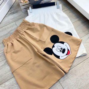 Купить бежевые женские шорты Микки из коттона дешево