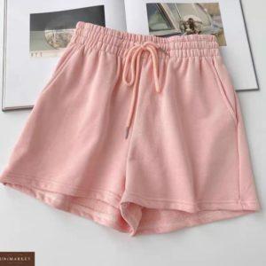 Заказать пудра женские однотонные шорты из двухнити в интернете