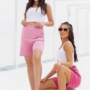 Приобрести розовые, пудра женские удлиненные трикотажные шорты (размер 42-52) в интернете
