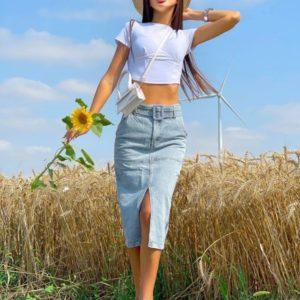Купить голубую джинсовую юбку миди +пояс для женщин онлайн