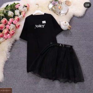Купить онлайн черный комплект: платье-футболка и юбка для женщин